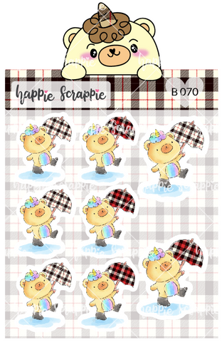 Planner Stickers : Umbrella Beariecorn (B070)