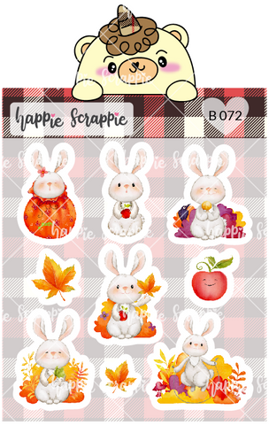 Planner Stickers : Fall Bunny (B072)