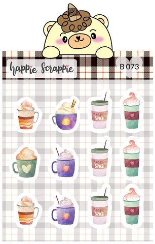 Planner Stickers : Pumpkin Spice Latte (B073)