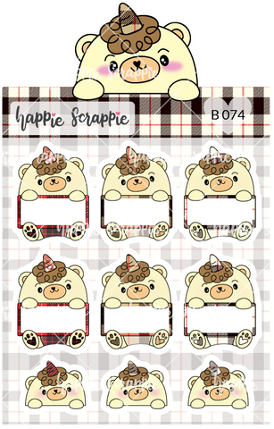 Planner Stickers : Plaid Beariecorn Label (B074)