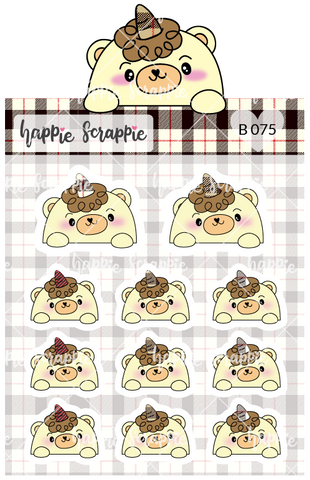 Planner Stickers : Plaid Top Beariecorn (B075)