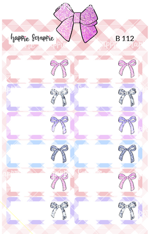 Planner Stickers : Pastel Plaid Bow Quarter Boxes (B112)