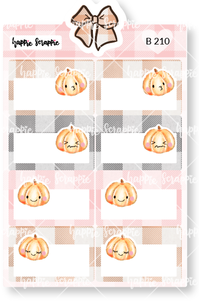 Planner Stickers : Sweater Weather - Pumpkin Quarter Boxes (B210)