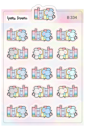 Planner Stickers : Reading Mouse (B334)