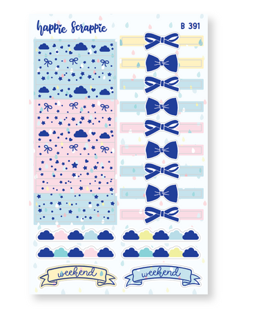 Planner Stickers : Spring Shower //  Header (B391)  // Holo Silver Foiled (Collab with OMWL)