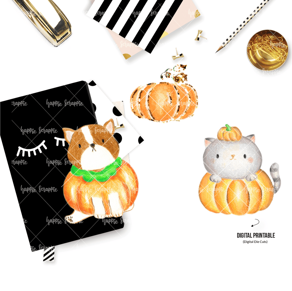 DIGITAL DOWNLOAD! - No Physical Product : Sweater Weather/ Pumpkin Winnie & Kitty (Color Pencil Artwork)