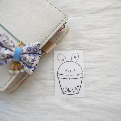 Metal Decal Sticker  : Constellation // Boba Cup Bunny