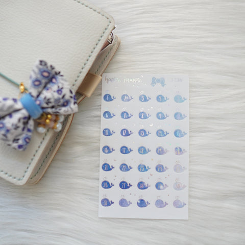 Planner Stickers : Constellation - Foiled Whale Date Dots (B238)