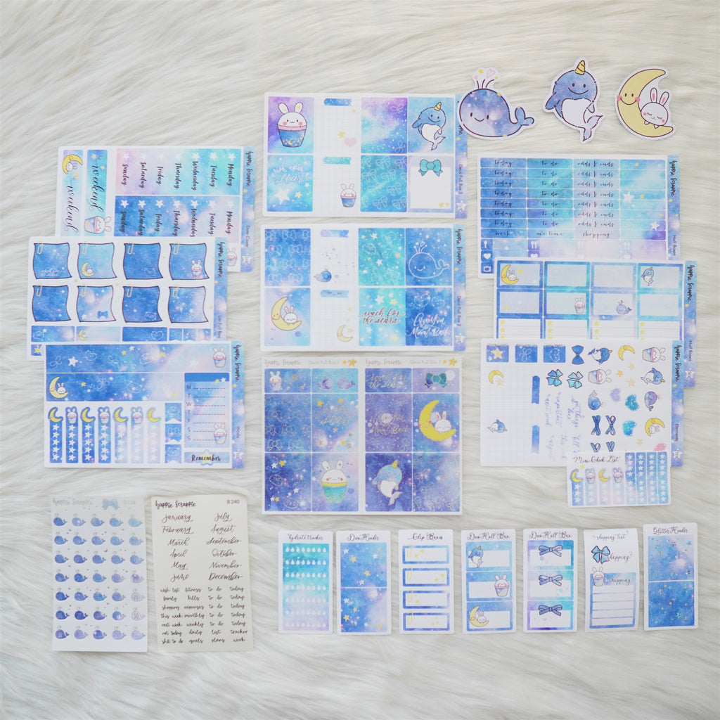 Sticker Kit - Constellation (Set of 9 Sheets) - Holo Silver & Glitter Foiled