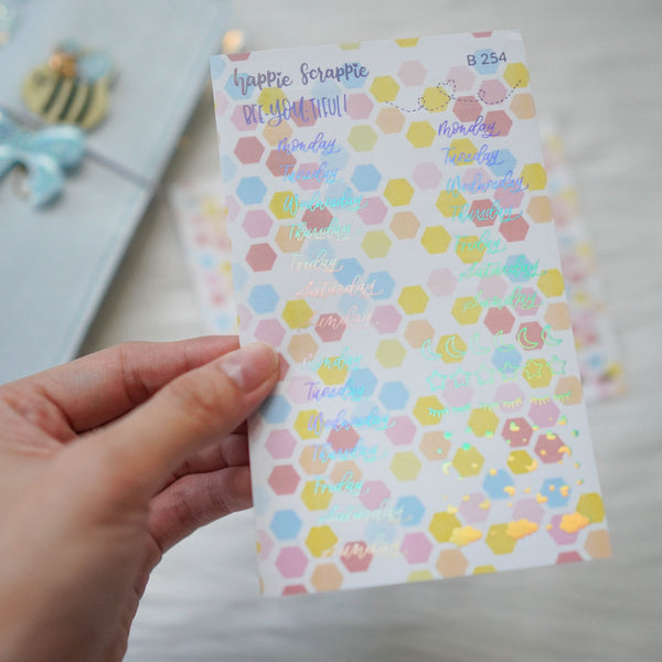 Planner Stickers : Skinny Date Cover // Bee-YOU-tiful (2 Foiled sheets) (B254)