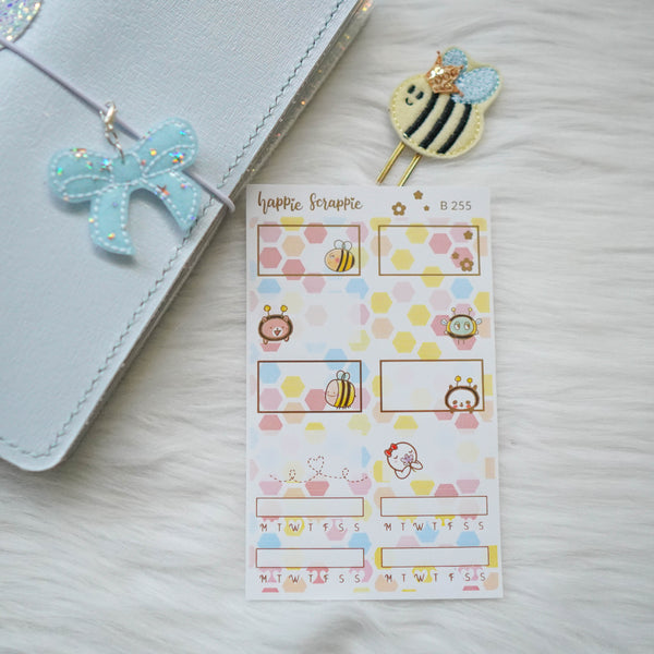 Planner Stickers : Bee-YOU-tiful // Foiled Half Boxes (B255)