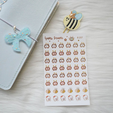 Planner Stickers : Bee-YOU-tiful //  Foiled Panda & Maru Date Dots (B257)
