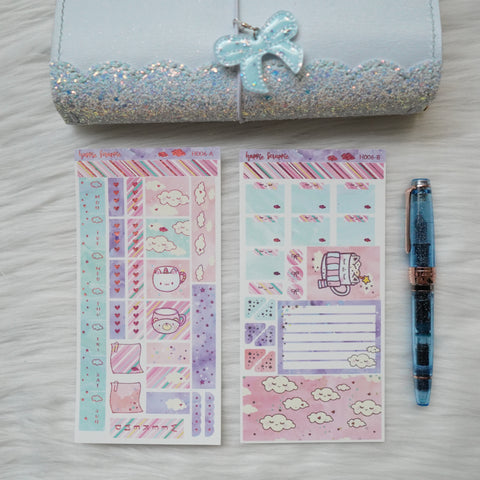 Hobonichi Weeks Sticker Kit - Hugs In A Mug // H006 - Foiled Stickers