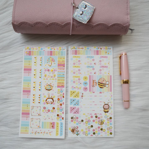 Hobonichi Weeks Sticker Kit - Grumpy Bee // H007 - Foiled Stickers