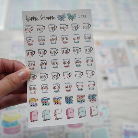Planner Stickers : My Favorite Things //  Foiled Cup Date Dots (B272)