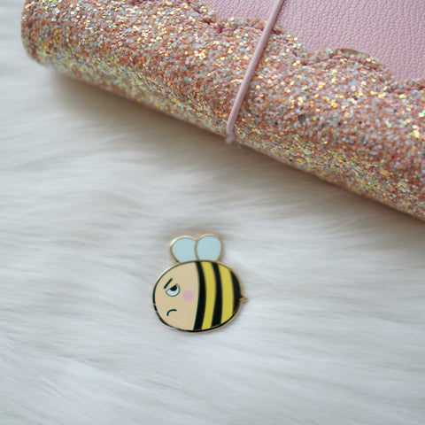 Pins : Bee-YOU-tiful  // GRUMPY Bee //  Magnetic Backing