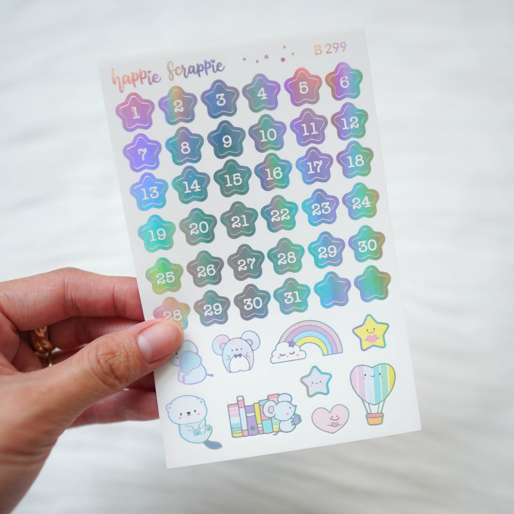 Planner Stickers : You're My Happy Rainbow //  Foiled Star Date Dots (B299)