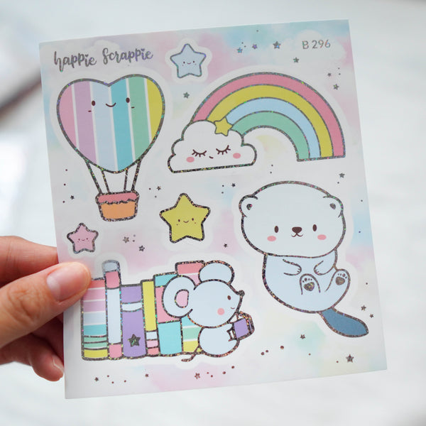 Foiled Stickers : You're My Happy Rainbow // Big Elements - B296