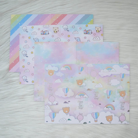 Pattern Papers : Holo Silver Foiled // You're My Happy Rainbow (Set of 4)