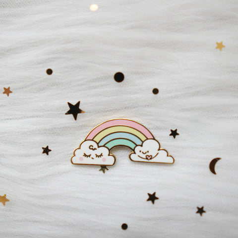 Pins : Rainbow Clouds //  Magnetic Backing