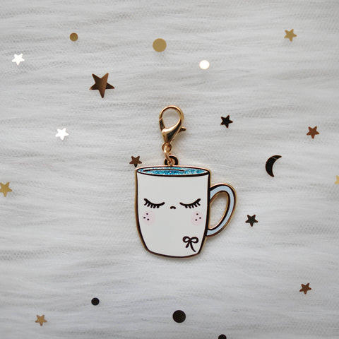 Dangling Charms  : Blue Glitter White Coffee Mug // With Lobster Clasp