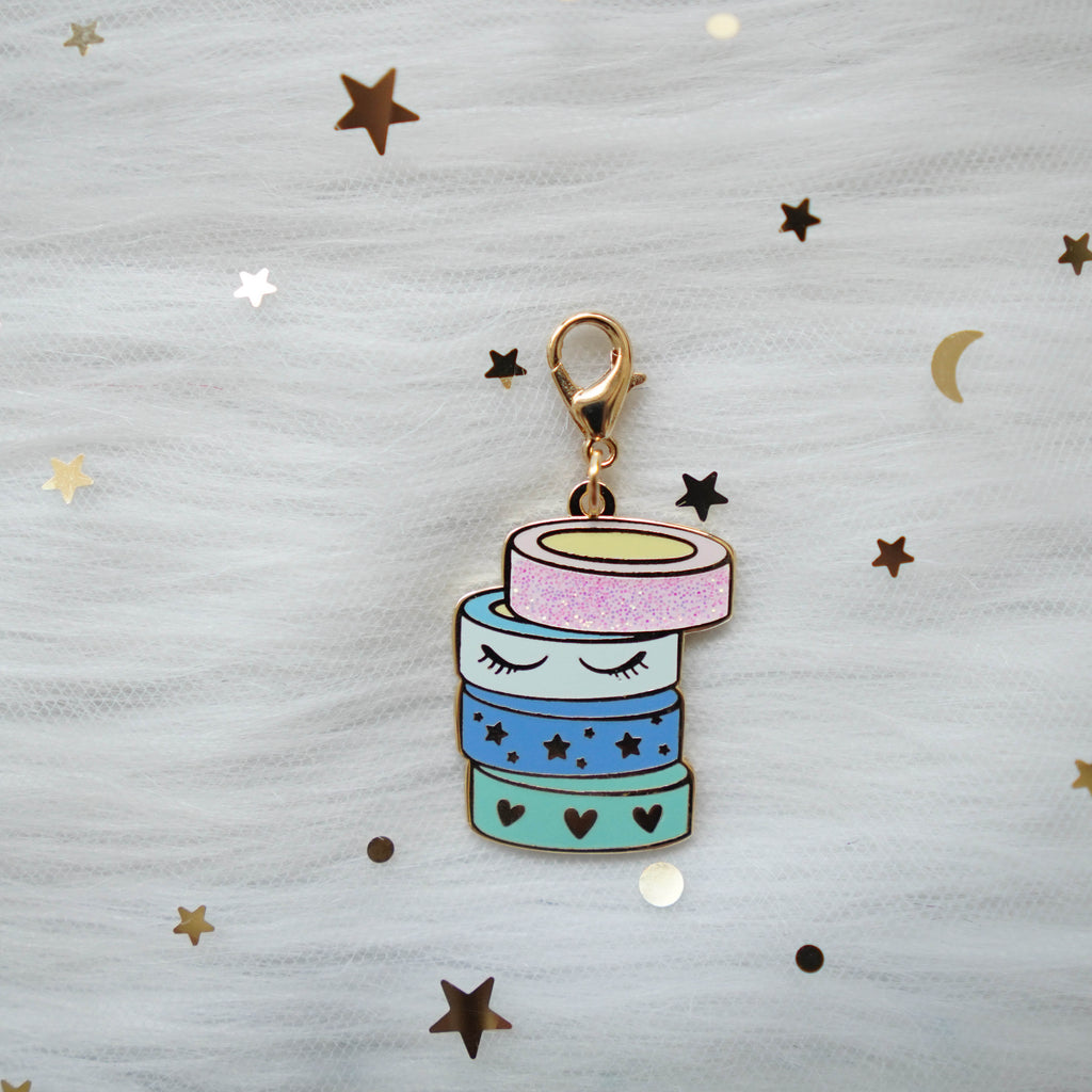 Dangling Charms  : Pastel Stacked Washi // With Lobster Clasp