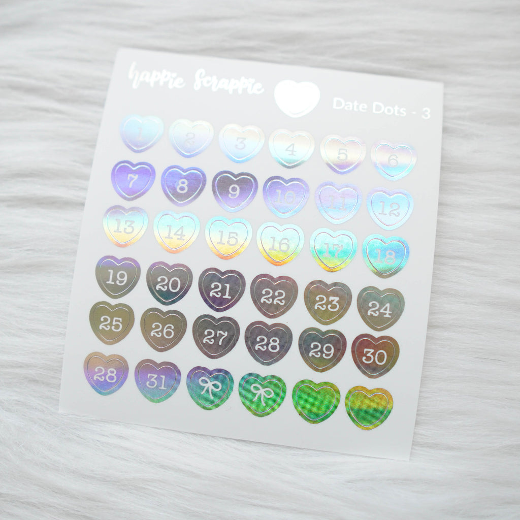 Mini Stickers : Date Numbers / Date Dots 3 (Hearts)