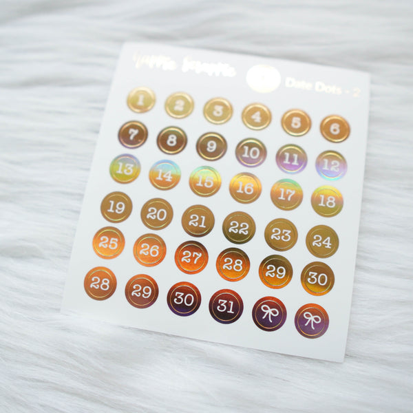 Mini Stickers : Date Numbers / Date Dots 2 (Round Solid)