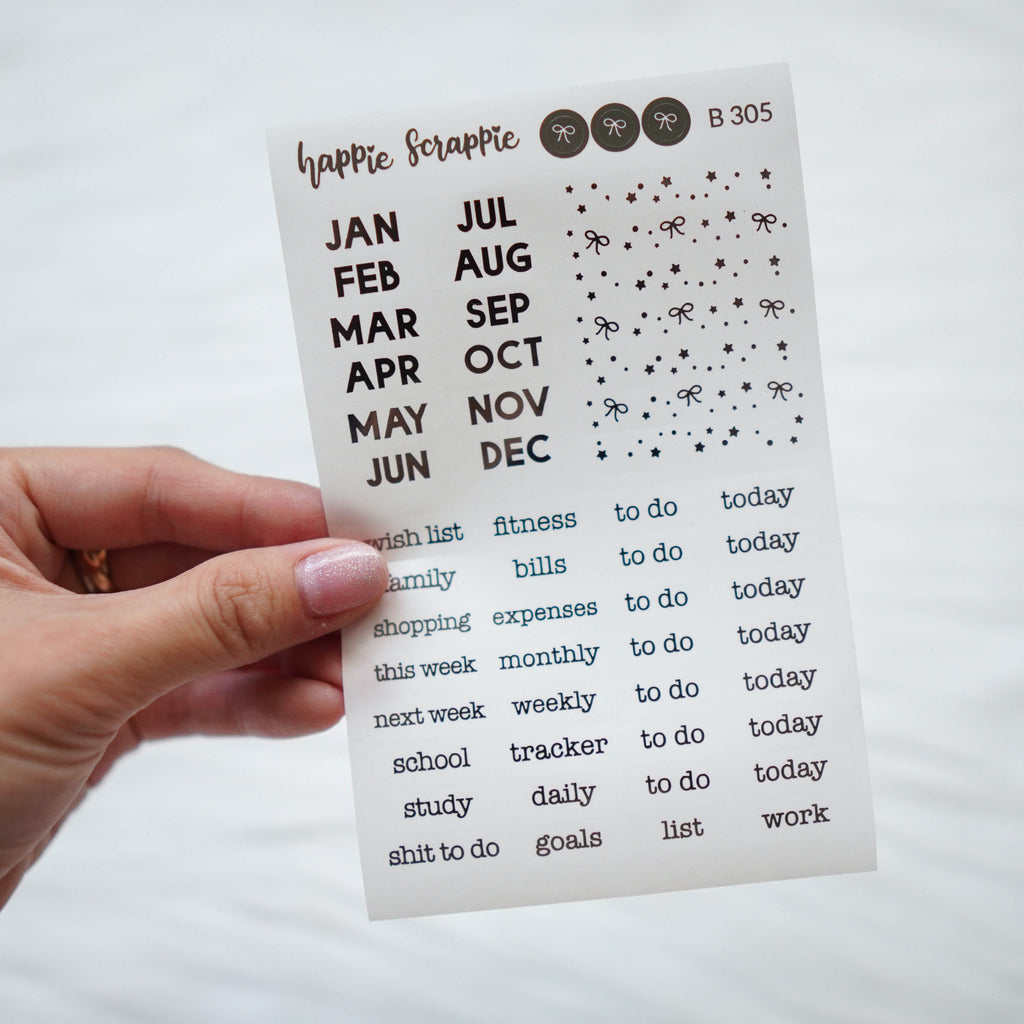 Planner Stickers : Dark Silver Foiled Month & Headers  (B305) // Clear Label Sticker