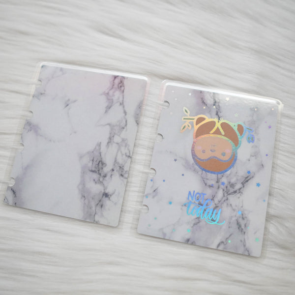 Planner Cover : Marble / Sloth (Holo Silver Foiled) // Once More With Love Collab