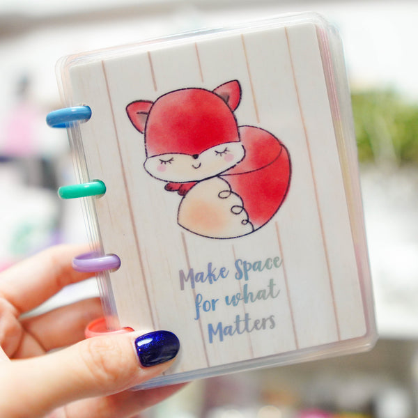 Planner Cover :  Sleepy Fox // Make Space (Holo Silver Foiled)