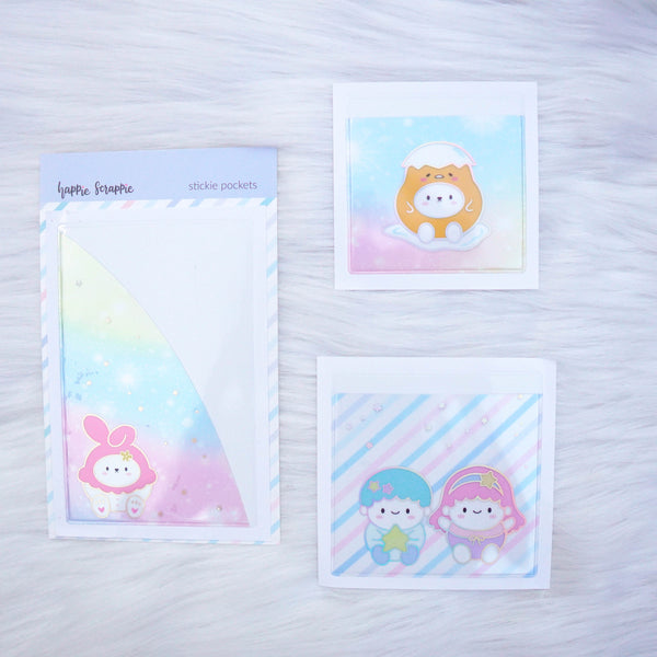 Stickie Pockets : Cutie Patootie //Holo Silver Foil (Set of 3)