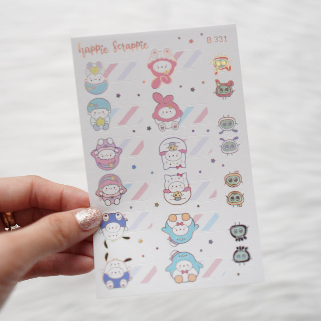 Planner Stickers : Cutie Patootie // Foiled Tabs (B331)