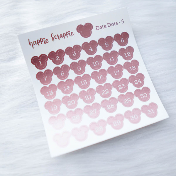 Mini Stickers : Date Numbers / Date Dots 5 (Magic Mouse)