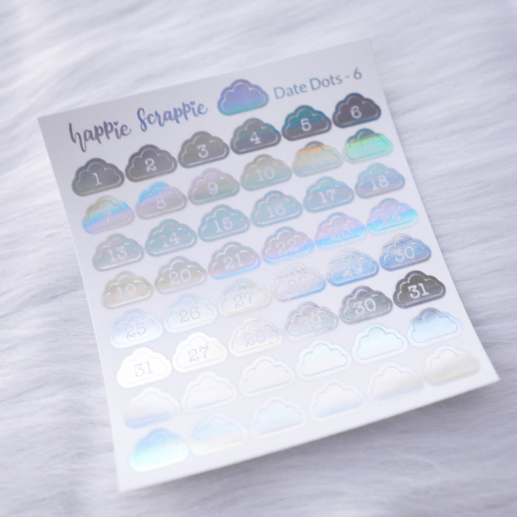Mini Stickers : Date Numbers / Date Dots 6 (Cloud)