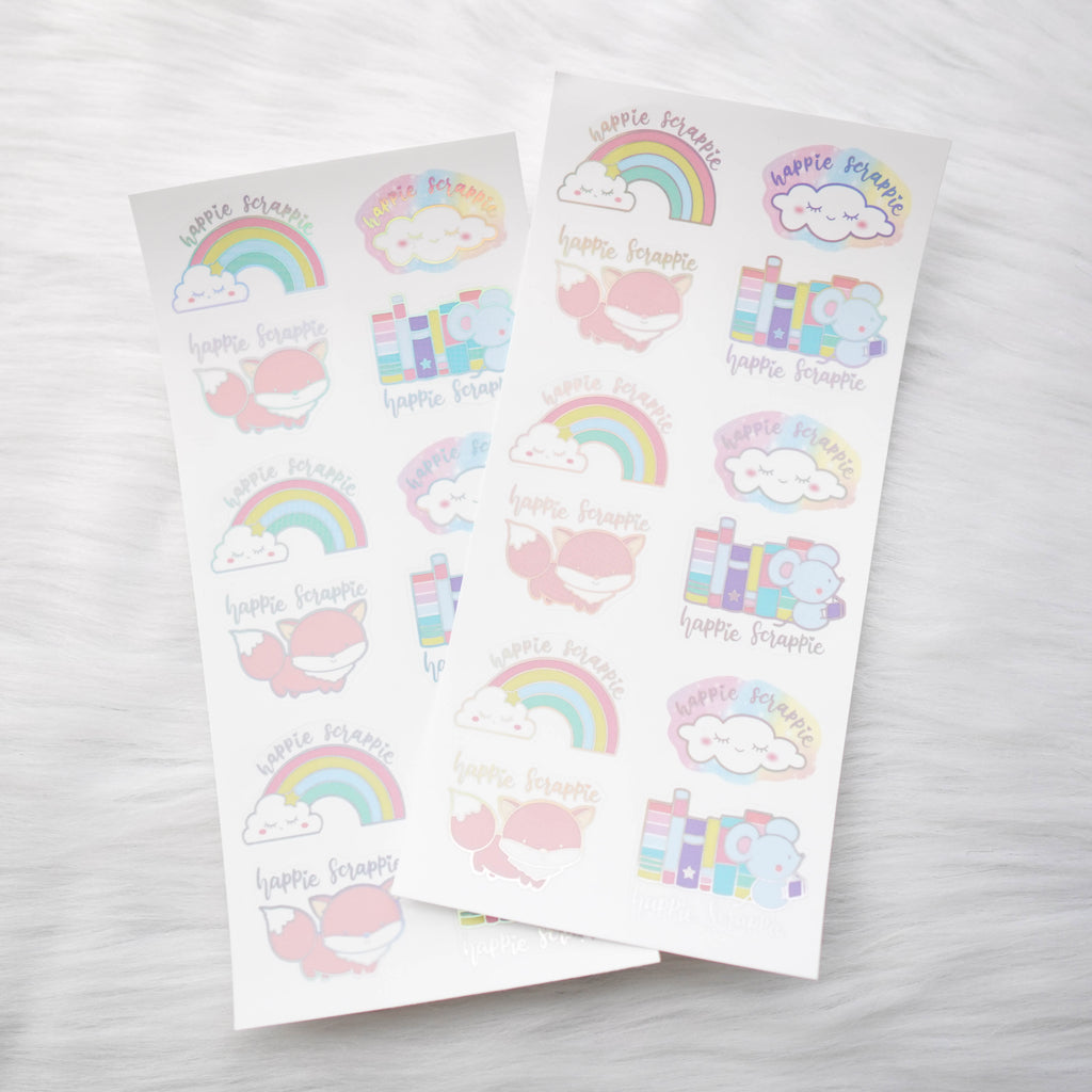 Foiled Seals : Rainbow & Cloud Happie Scrappie Seals
