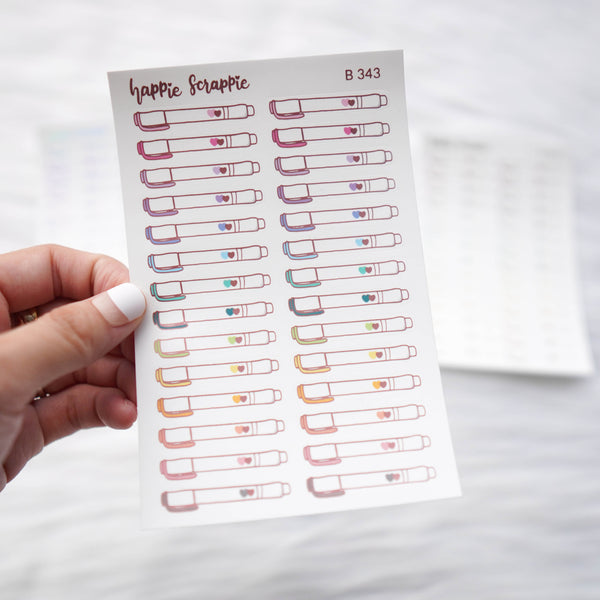 Planner Stickers : Foiled Mildliner Highlighter Sticker (B343)