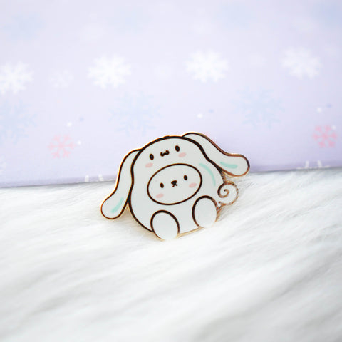 Pins : Cutie Patootie // White Dog with Long Ears //  Magnetic Backing