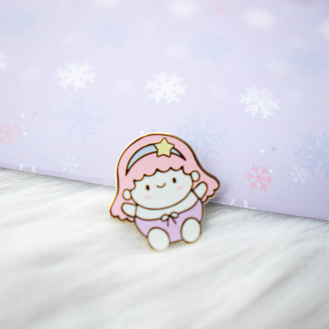 Pins : Cutie Patootie // Pink Hair Girl //  Magnetic Backing