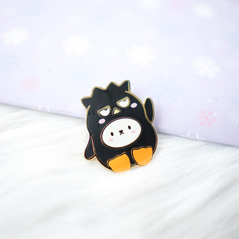 Pins : Cutie Patootie // Black Spiky Hair Penguin //  Magnetic Backing