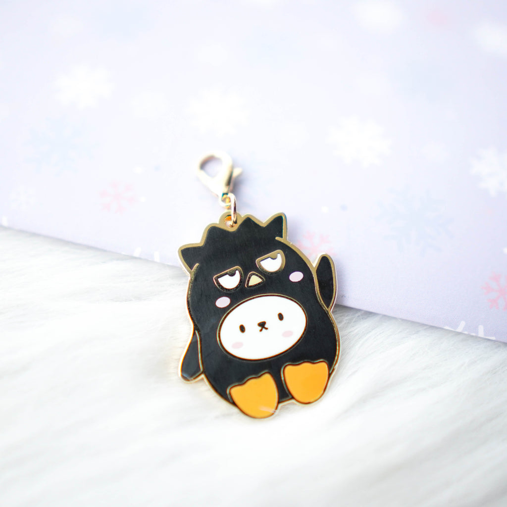 Dangling Charm : Cutie Patootie // Black Spiky Hair Penguin