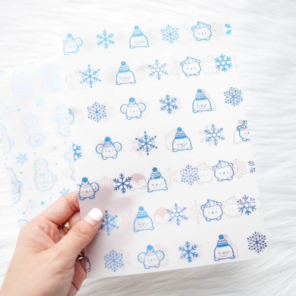 Vellum : Blue Glitter Foiled // Cozy Winter (Set of 2)