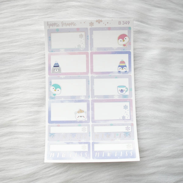 Planner Stickers : Cozy Winter // Foiled Half Boxes (B349)