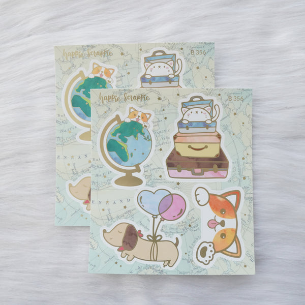Foiled Stickers : Let's Go Travel // Big Elements - B356