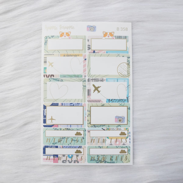 Planner Stickers : Let's Go Travel - Quarter Boxes & Tracker (B358)  // Matte Gold Foiled