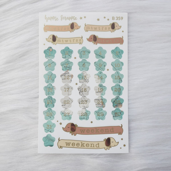 Planner Stickers : Let's Go Travel - Date Dots (B359)  // Matte Gold Foiled