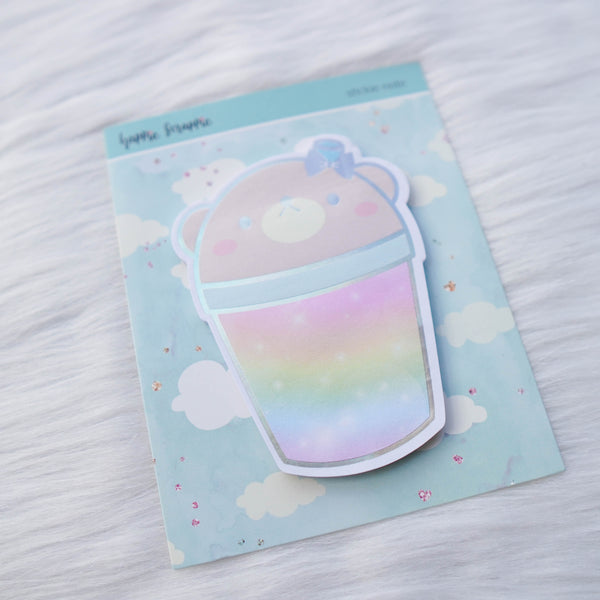 Stickie Notes : Positivi-TEA Boba Bear // Holo Silver Foiled