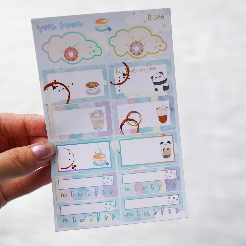 Planner Stickers : Positivi-TEA - Quarter Boxes & Tracker (B366)  // Holo Silver Foiled
