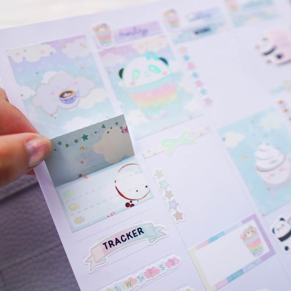 Planner Stickers : Positivi-TEA - Foldable Boxes & Notes (B368)  // Holo Silver Foiled