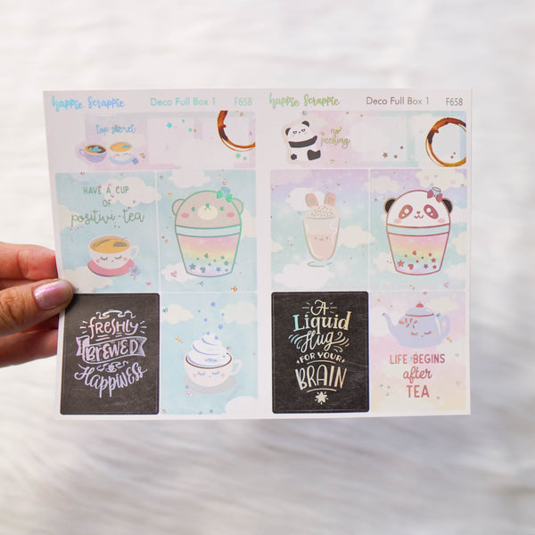 Sticker Kit : Positivi-TEA (Set of 9 Sheets) - Holo Silver Foiled Stickers